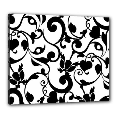 Floral Flower Leaf Black Canvas 24  x 20
