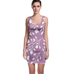 Floral Flower Leafpurple White Sleeveless Bodycon Dress