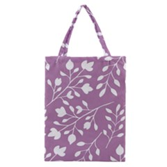 Floral Flower Leafpurple White Classic Tote Bag