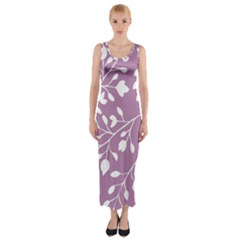 Floral Flower Leafpurple White Fitted Maxi Dress