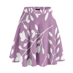 Floral Flower Leafpurple White High Waist Skirt