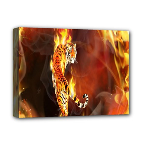 Fire Tiger Lion Animals Wild Orange Yellow Deluxe Canvas 16  x 12