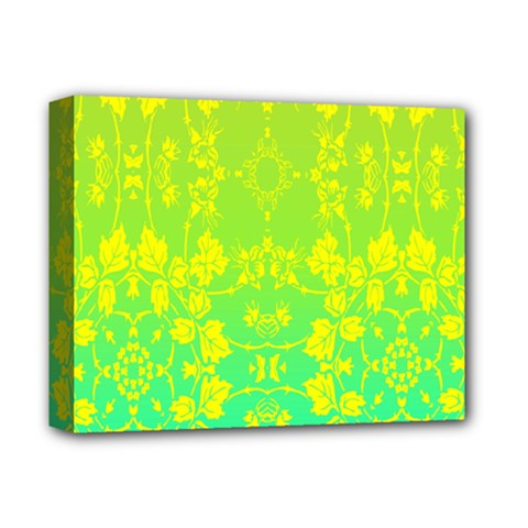 Floral Flower Leaf Yellow Blue Deluxe Canvas 14  x 11