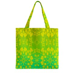 Floral Flower Leaf Yellow Blue Zipper Grocery Tote Bag