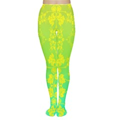 Floral Flower Leaf Yellow Blue Women s Tights