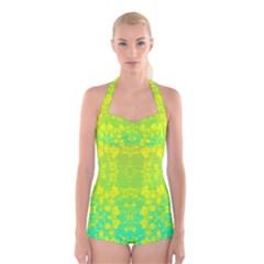 Floral Flower Leaf Yellow Blue Boyleg Halter Swimsuit