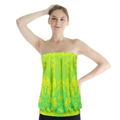 Floral Flower Leaf Yellow Blue Strapless Top