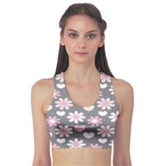 Flower Floral Rose Sunflower Pink Grey Love Heart Valentine Sports Bra