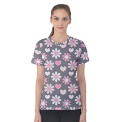 Flower Floral Rose Sunflower Pink Grey Love Heart Valentine Women s Cotton Tee