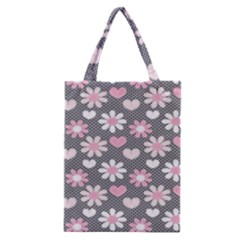 Flower Floral Rose Sunflower Pink Grey Love Heart Valentine Classic Tote Bag