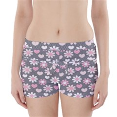 Flower Floral Rose Sunflower Pink Grey Love Heart Valentine Boyleg Bikini Wrap Bottoms