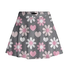 Flower Floral Rose Sunflower Pink Grey Love Heart Valentine Mini Flare Skirt