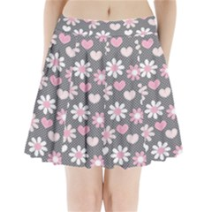 Flower Floral Rose Sunflower Pink Grey Love Heart Valentine Pleated Mini Skirt