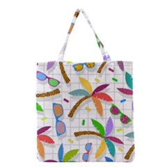 Glasses Coconut Tree Color Rainbow Purple Yellow Orange Green Red Pink Brown Line Grocery Tote Bag