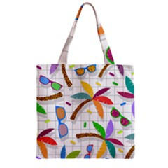 Glasses Coconut Tree Color Rainbow Purple Yellow Orange Green Red Pink Brown Line Zipper Grocery Tote Bag