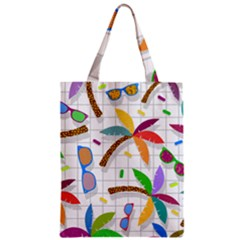 Glasses Coconut Tree Color Rainbow Purple Yellow Orange Green Red Pink Brown Line Zipper Classic Tote Bag