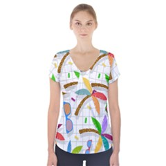 Glasses Coconut Tree Color Rainbow Purple Yellow Orange Green Red Pink Brown Line Short Sleeve Front Detail Top