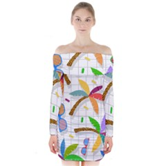 Glasses Coconut Tree Color Rainbow Purple Yellow Orange Green Red Pink Brown Line Long Sleeve Off Shoulder Dress