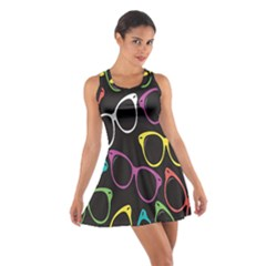 Glasses Color Pink Mpurple Green Yellow Blue Rainbow Black Cotton Racerback Dress