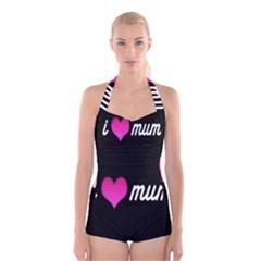 I Love Moom Mum Pink Valentine Heart Boyleg Halter Swimsuit