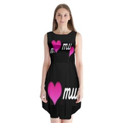 I Love Moom Mum Pink Valentine Heart Sleeveless Chiffon Dress