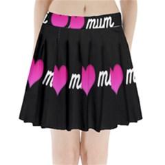 I Love Moom Mum Pink Valentine Heart Pleated Mini Skirt