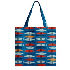Go Fish  Fishing Animals Sea Water Beach Red Blue Orange Grey Zipper Grocery Tote Bag