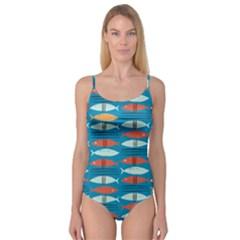 Go Fish  Fishing Animals Sea Water Beach Red Blue Orange Grey Camisole Leotard