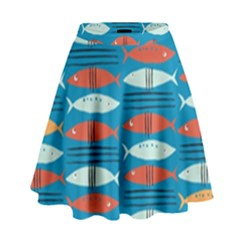 Go Fish  Fishing Animals Sea Water Beach Red Blue Orange Grey High Waist Skirt