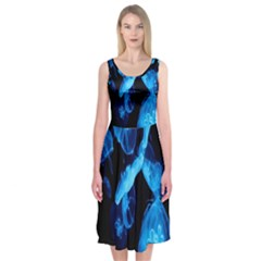 Jellyfish Sea Beack Water Blue Midi Sleeveless Dress