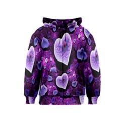 Hearts On Snake Pattern Purple Pink Love Kids  Zipper Hoodie