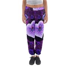Hearts On Snake Pattern Purple Pink Love Women s Jogger Sweatpants