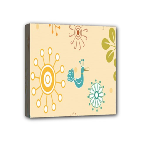 Kids Bird Sun Flower Floral Leaf Animals Color Rainbow Mini Canvas 4  x 4