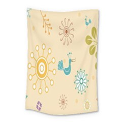 Kids Bird Sun Flower Floral Leaf Animals Color Rainbow Small Tapestry