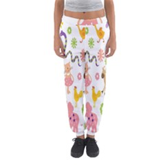 Kids Animal Giraffe Elephant Cows Horse Pigs Chicken Snake Cat Rabbits Duck Flower Floral Rainbow Women s Jogger Sweatpants