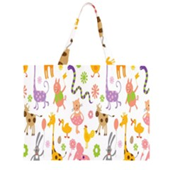 Kids Animal Giraffe Elephant Cows Horse Pigs Chicken Snake Cat Rabbits Duck Flower Floral Rainbow Large Tote Bag