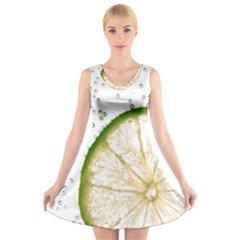 Lime V-Neck Sleeveless Skater Dress
