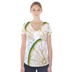 Lime Short Sleeve Front Detail Top