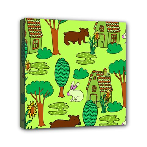 Kids House Rabbit Cow Tree Flower Green Mini Canvas 6  x 6