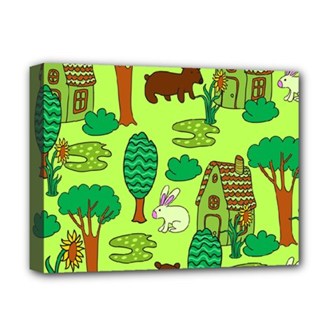 Kids House Rabbit Cow Tree Flower Green Deluxe Canvas 16  x 12