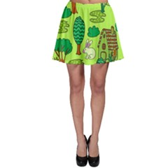 Kids House Rabbit Cow Tree Flower Green Skater Skirt
