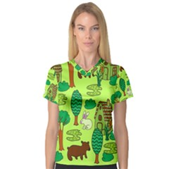 Kids House Rabbit Cow Tree Flower Green Women s V-Neck Sport Mesh Tee