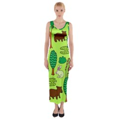 Kids House Rabbit Cow Tree Flower Green Fitted Maxi Dress