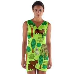 Kids House Rabbit Cow Tree Flower Green Wrap Front Bodycon Dress