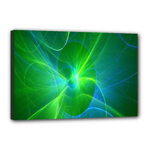 Line Green Light Canvas 18  x 12
