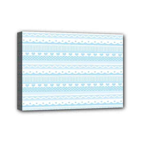 Love Heart Valentine Blue Star Woven Wave Fabric Chevron Mini Canvas 7  X 5