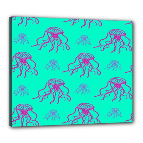 Jellyfish Pink Green Blue Tentacel Canvas 24  x 20