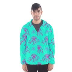 Jellyfish Pink Green Blue Tentacel Hooded Wind Breaker (Men)