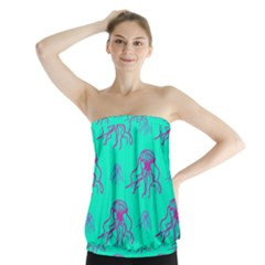 Jellyfish Pink Green Blue Tentacel Strapless Top