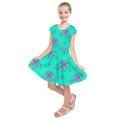 Jellyfish Pink Green Blue Tentacel Kids  Short Sleeve Dress